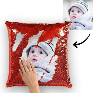 "Custom Baby Photo Magic Sequins Pillow Multicolor Shiny Mermaid Pillow 15.75""*15.75"" - faceonboxer"