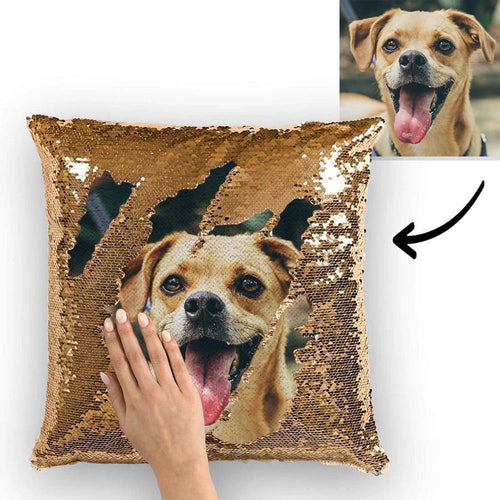 Custom Pet Photo Magic Sequin Pillow Multicolor Shiny 15.75