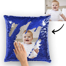 "Load image into Gallery viewer, Custom Baby Photo Magic Sequins Pillow Multicolor Shiny Mermaid Pillow 15.75""*15.75"" - faceonboxer"
