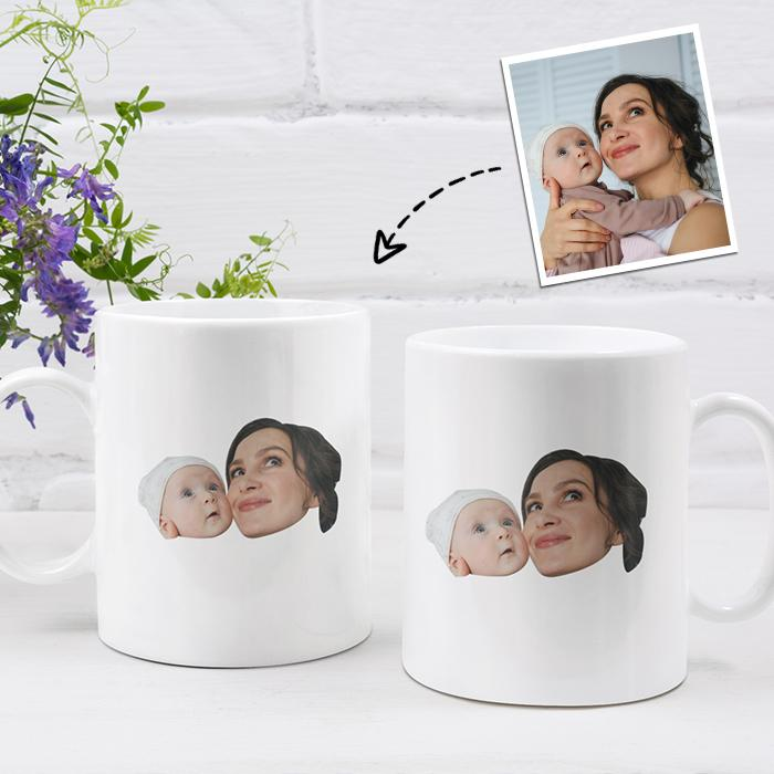 Personalized Mug,Custom Photo Mug,Gift for Mom,Mom and Baby Face