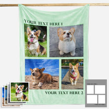 Load image into Gallery viewer, Custom Dog/Pet Fleece Photo Blanket with 1-4 Photos - faceonboxer