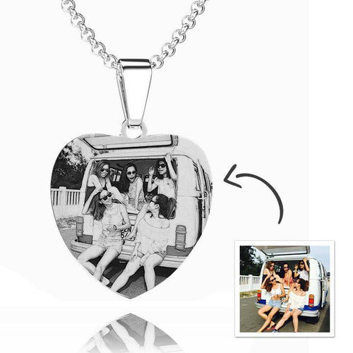 Women's Heart Photo Engraved Tag Necklace With Engraving Stainless Steel - faceonboxer