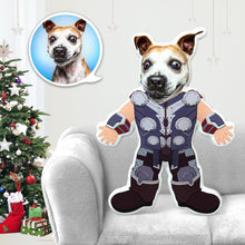 Load image into Gallery viewer, Dog Photo Pillow Dog Face Pillow Personalized Dog Pillow Custom Dog Pillow Dog Picture Pillow Thor Costume MiniMe Dog Costume Pillow Doll
