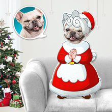Load image into Gallery viewer, Dog Photo Pillow Dog Face Pillow Personalized Dog Pillow Custom Dog Pillow Dog Picture Pillow Mrs Santa Claus Costume MiniMe Dog Costume Pillow Doll