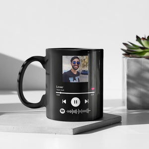 Personalized Song Music Code Mug,Custom Spotify Album Cover Photo Mug,Magic Heat Color Changing Coffee Mugs, Gift for Mom/Dad, Gift for Boy/Girlfriend