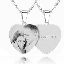 Load image into Gallery viewer, Women's Heart Photo Engraved Tag Necklace With Engraving Stainless Steel - faceonboxer
