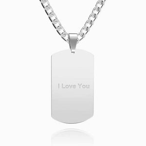 Men's Photo Engraved Tag Necklace With Engraving Stainless Steel - faceonboxer