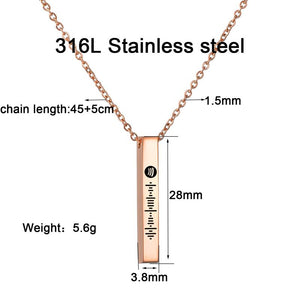 Scannable Spotify Code Necklace 3D Engraved Vertical Bar Necklace Gifts For Her