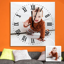 Load image into Gallery viewer, Custom Photo Square Wall Clock Black Pointer