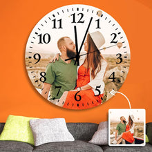 "Load image into Gallery viewer, Custom Photo Wall Clock Black Pointer  9"" 10"" 12"""