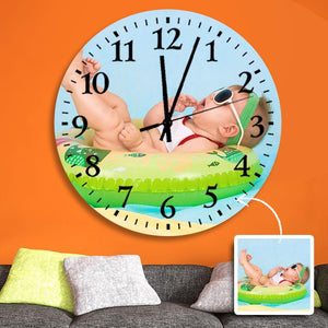 "Custom Photo Wall Clock Black Pointer  9"" 10"" 12"""