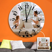 "Load image into Gallery viewer, Custom Photo Wall Clock Black Roman Numerals  9"" 10"" 12"""