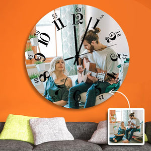 "Custom Photo Wall Clock Black Roman Numerals  9"" 10"" 12"""