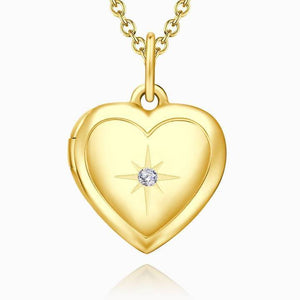Women's Printing Photo Locket Heart Necklace Platinum Plated - faceonboxer