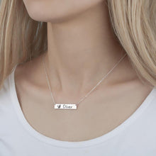 Load image into Gallery viewer, Photo Engraved Necklace, Portrait Bar Necklace Platinum Plated - Silver - faceonboxer
