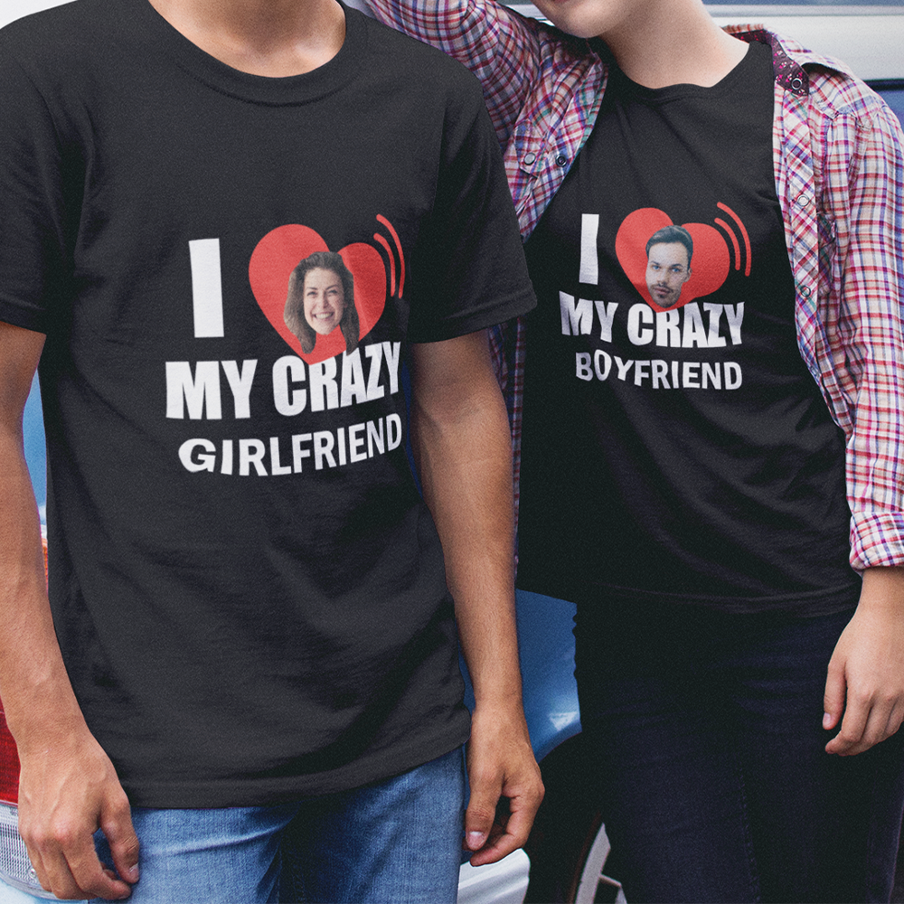 Custom Photo Face T-shirt for Couple, for Lover