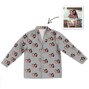 Custom Photo Pajamas Photo Long Sleeve Pajamas Sleepwear Gifts Ideas Nightwear Shirts Unisex-Top Only