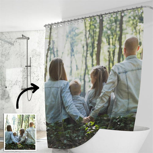 Custom Shower Curtain Unique Gift for Family - faceonboxer