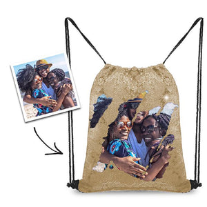 Personalized Sequins Backpack with Photo of Family