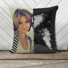 "Load image into Gallery viewer, Family Custom Photo Magic Sequins Pillow Multicolor Shiny Gift 15.75""*15.75"""