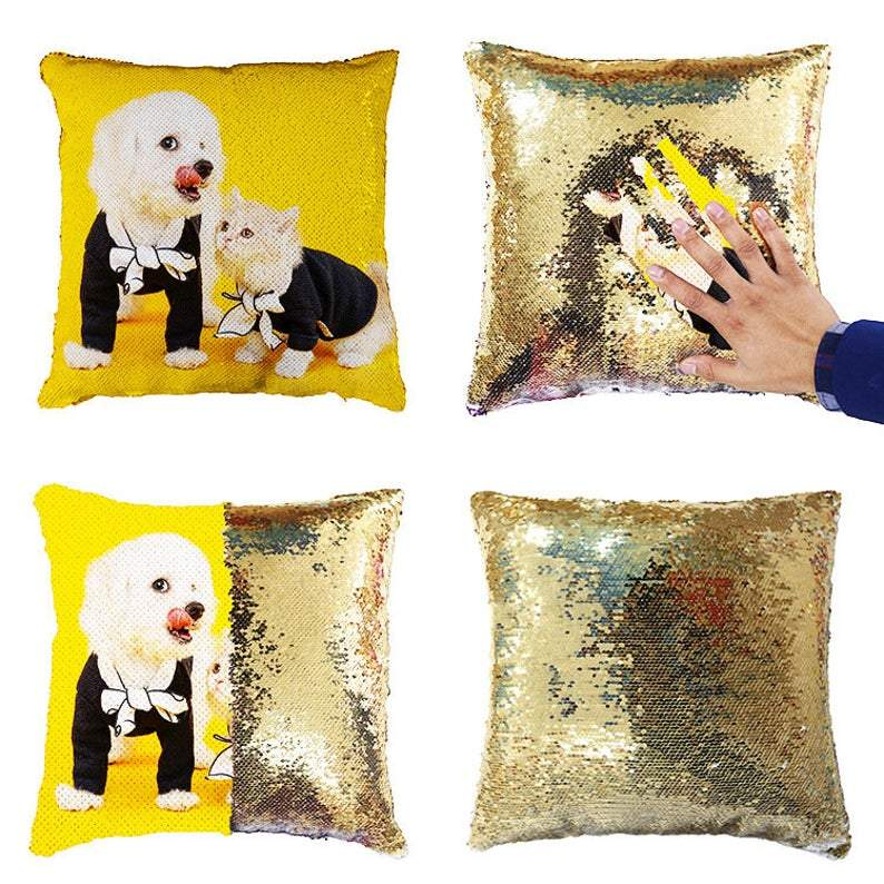 Custom Photo Magic Sequins Pillow Multicolor Shiny Gift 15.75