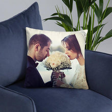 "Load image into Gallery viewer, Custom Wedding Couple Photo Throw Pillow Wedding Gift 15.75""*15.75"""