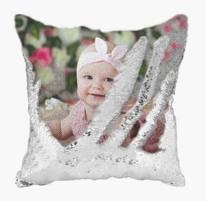 "Custom Photo Baby Magic Sequins Pillow Multicolor Shiny Gift 15.75""*15.75"""