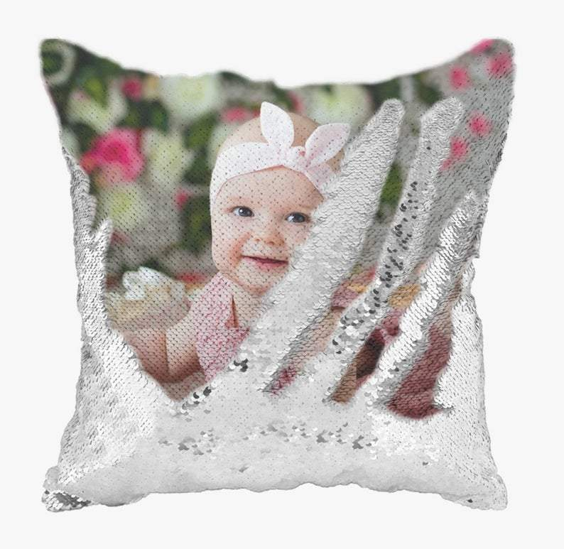 Custom Photo Baby Magic Sequins Pillow Multicolor Shiny Gift 15.75
