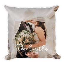 "Load image into Gallery viewer, Custom Wedding Gift Couple Photo Throw Pillow 15.75""*15.75"""