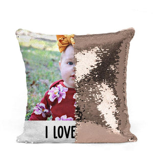 "Custom Photo Magic Sequins Pillow Multicolor Shiny Gift 15.75""*15.75"""