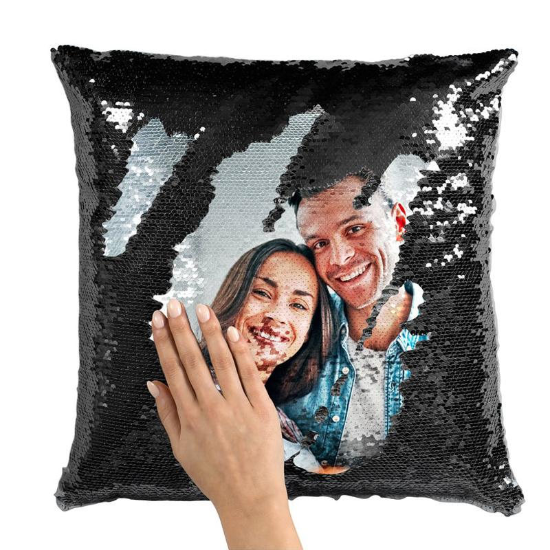 Custom Sequin Photo Pillow Couple Magic Sequins Pillow Multicolor Shiny Valentine's Day Gift 15.75