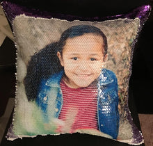 "Load image into Gallery viewer, Custom Photo Magic Sequins Pillow Kids Multicolor Shiny Gift 15.75""*15.75"""