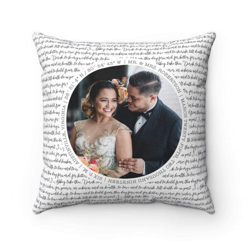 Custom Wedding Couple Photo Love Letters Throw Pillow 15.75