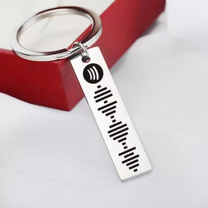Custom Scannable Spotify Code Keychain, Engraved Custom Music, Song Keychain Gifts For Him Silver Color