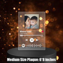 Load image into Gallery viewer, Custom Scannable Spotify Engraved Custom Music And Photo Acrylic Plaque, 4 Sizes Available