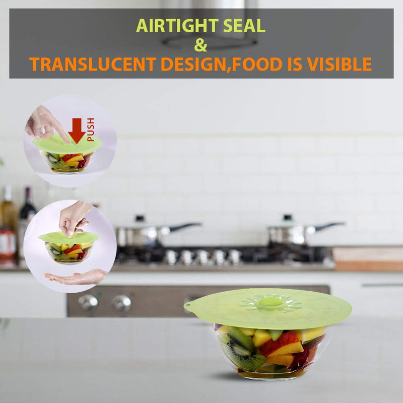 Microwave oven food cover, suitable for bowls, cups, pans, pans, no BPA silicone lid, easy to clean and store, colorful