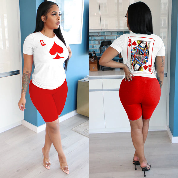 Digital Print Color Bock Plus Size Top & Shorts