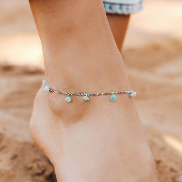 Dangling Gem Chain Anklet