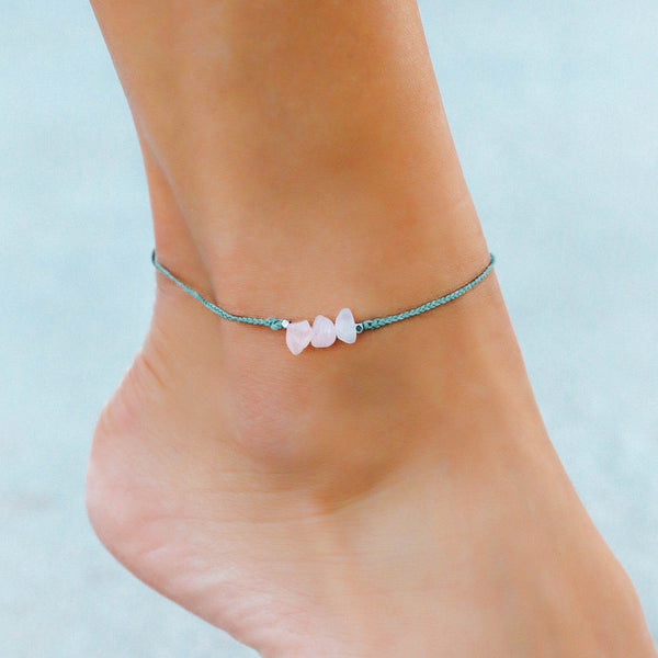 Rose Quartz Raw Stone Anklet