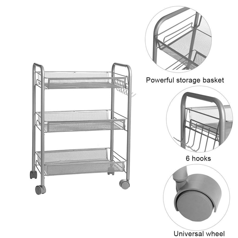3-Tier Rolling Kitchen Storage Cart