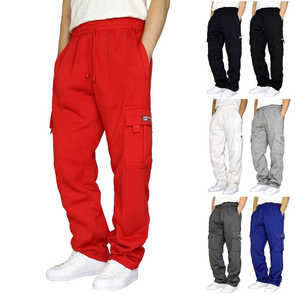 2021 Men's Rope Loosening Waist Solid Color Pocket Trousers Loose Sports Trousers
