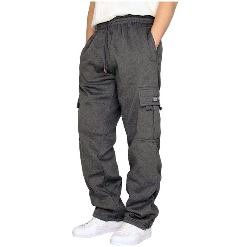 Men's Rope Loosening Waist Solid Color Pocket Trousers Loose Sports Trousers