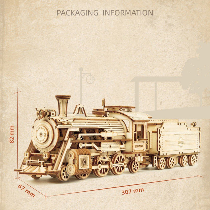 DIY Creative 3D Steam Train Wooden Puzzle