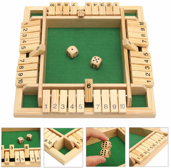 Shut The Box Wooden Board Game for 2-4 Players