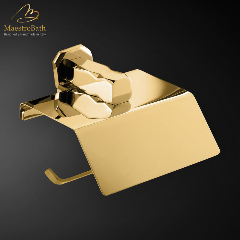 IKON Roll Holder with Cover | Polished Gold