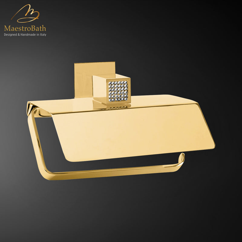 Skip Diamond Roll Holder with Cover | Polished Gold