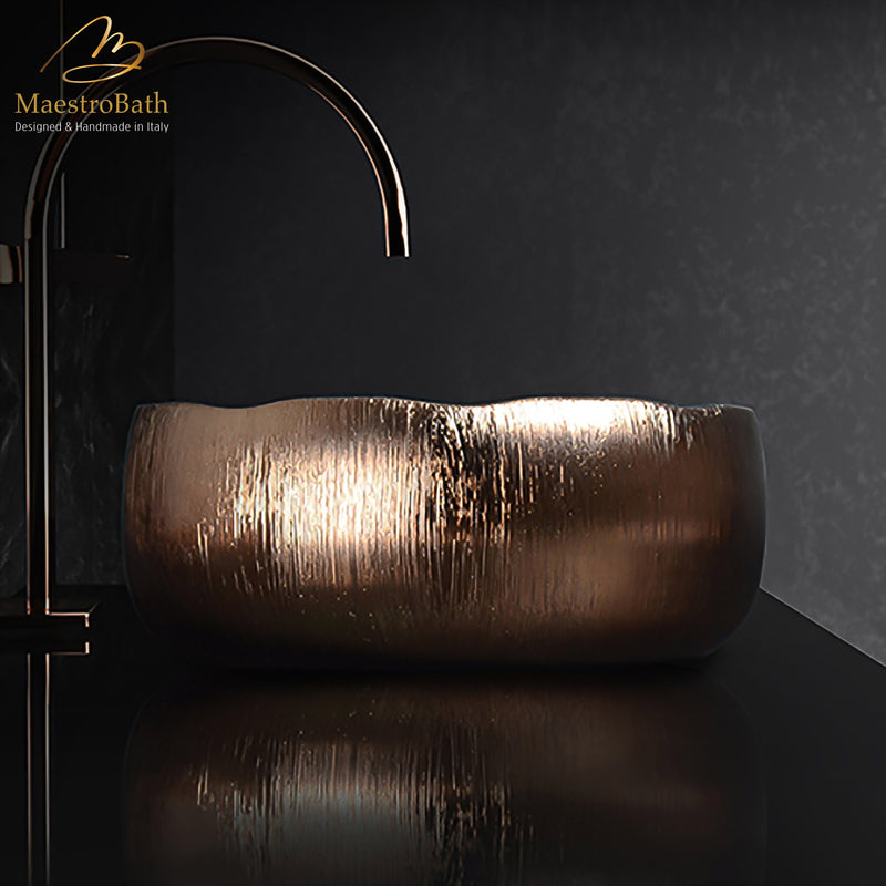 Contemporary Bathroom Vessel Sink | Bronze