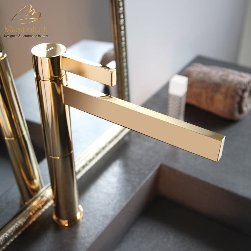 Caso Polished Gold Designer Bathroom Faucet