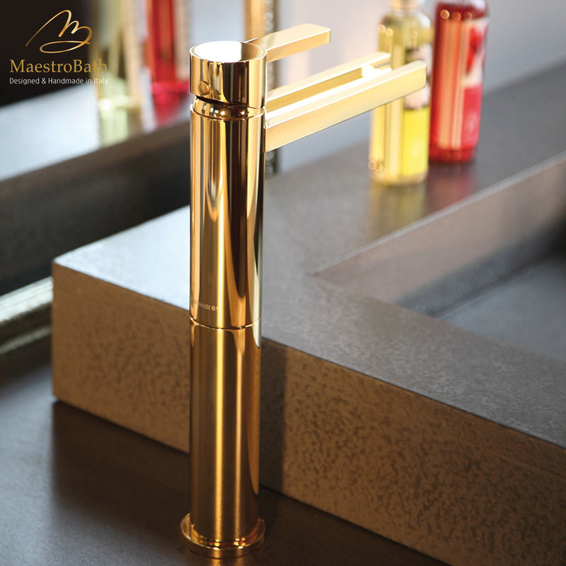 Aqua Polished Gold Luxury Bathroom Faucet