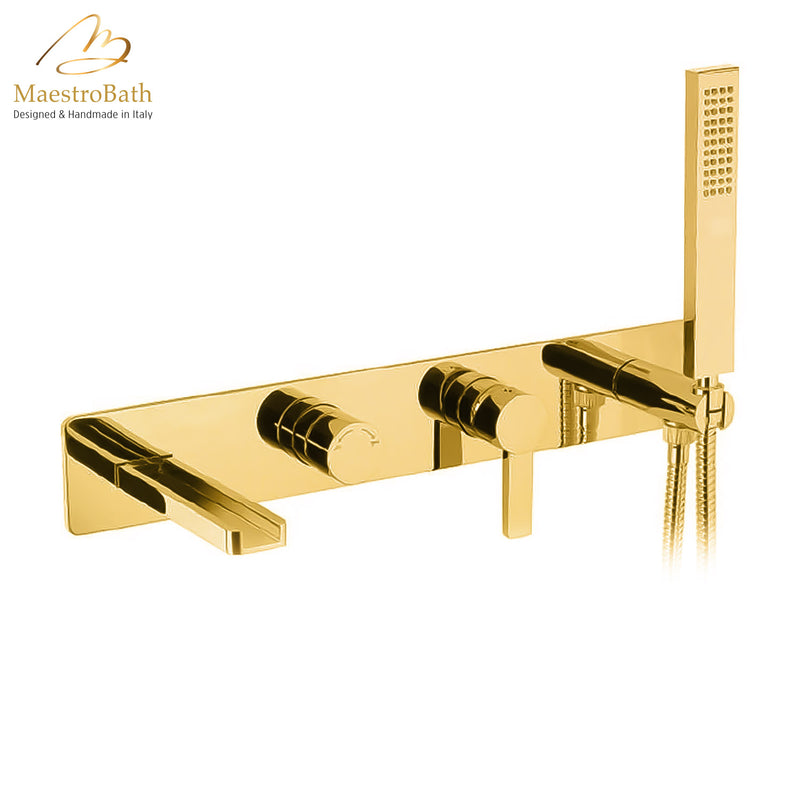 Aqua Waterfall Contemporary Bathtub Filler | Polished Gold